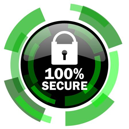 secure icon: secure icon, green modern design glossy round button, web and mobile app design illustration