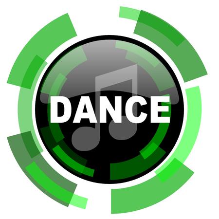 live stream radio: dance music icon, green modern design glossy round button, web and mobile app design illustration Stock Photo