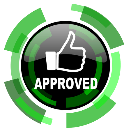approved icon: approved icon, green modern design glossy round button, web and mobile app design illustration