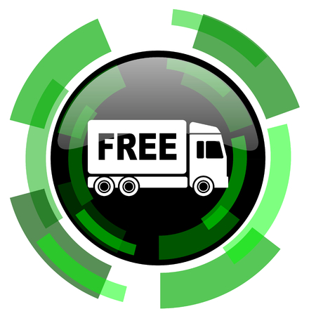 deliverance: free delivery icon, green modern design glossy round button, web and mobile app design illustration