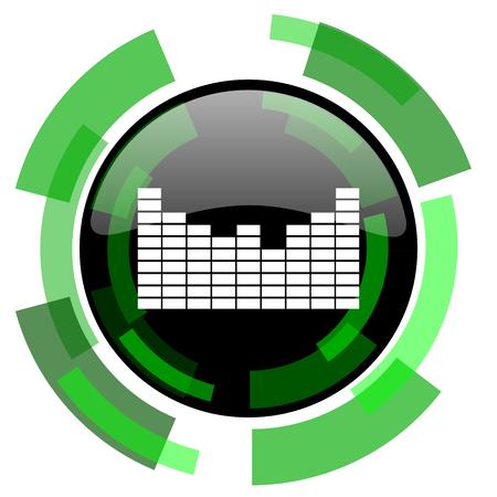 sound icon: sound icon, green modern design glossy round button, web and mobile app design illustration