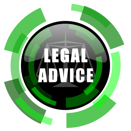 criminal act: legal advice icon, green modern design glossy round button, web and mobile app design illustration