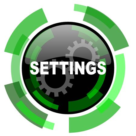 settings icon: settings icon, green modern design glossy round button, web and mobile app design illustration Stock Photo