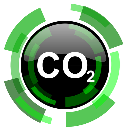 dioxido de carbono: carbon dioxide icon, green modern design glossy round button, web and mobile app design illustration