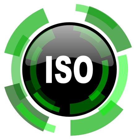 iso icon: iso icon, green modern design glossy round button, web and mobile app design illustration Stock Photo