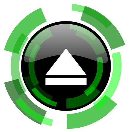 eject icon: eject icon, green modern design glossy round button, web and mobile app design illustration Stock Photo