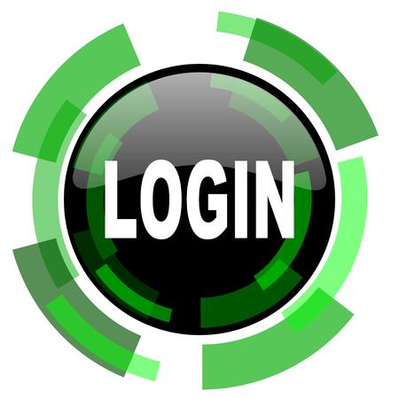 login icon: login icon, green modern design glossy round button, web and mobile app design illustration