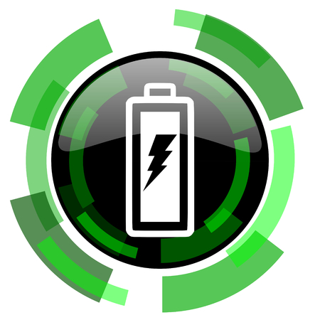 accuse: battery icon, green modern design glossy round button, web and mobile app design illustration