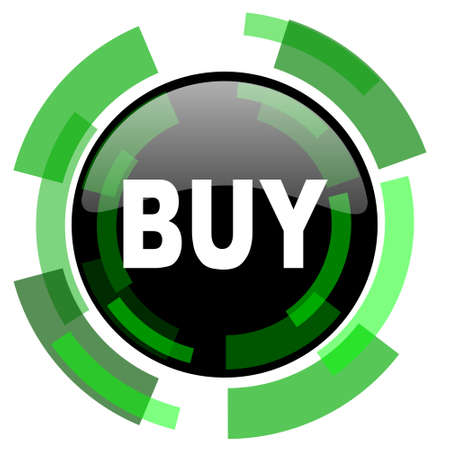 buy icon: buy icon, green modern design glossy round button, web and mobile app design illustration