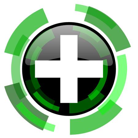 plus icon: plus icon, green modern design glossy round button, web and mobile app design illustration Stock Photo