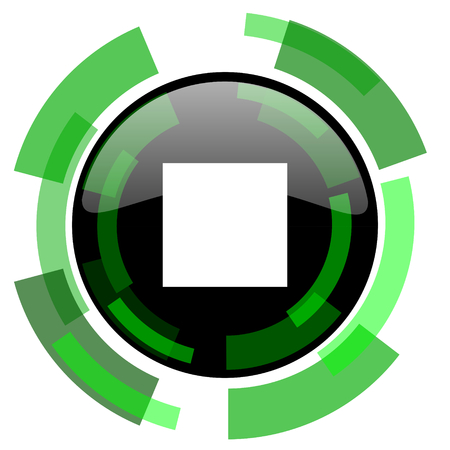 stop icon: stop icon, green modern design glossy round button, web and mobile app design illustration Stock Photo