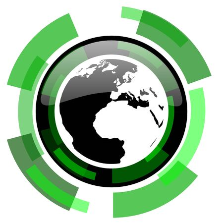 parallel world: earth icon, green modern design glossy round button, web and mobile app design illustration