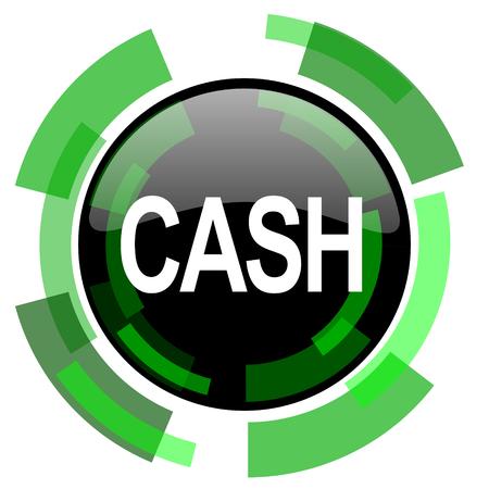 cash icon: cash icon, green modern design glossy round button, web and mobile app design illustration Stock Photo