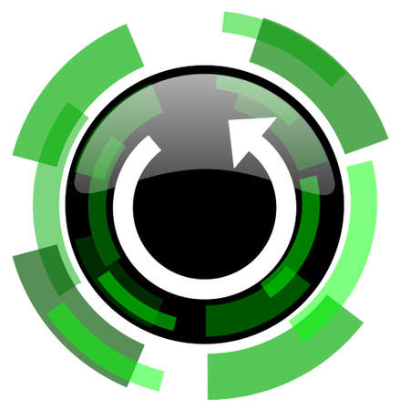 rotate icon: rotate icon, green modern design glossy round button, web and mobile app design illustration