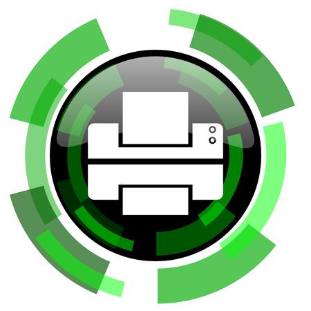 printer icon: printer icon, green modern design glossy round button, web and mobile app design illustration