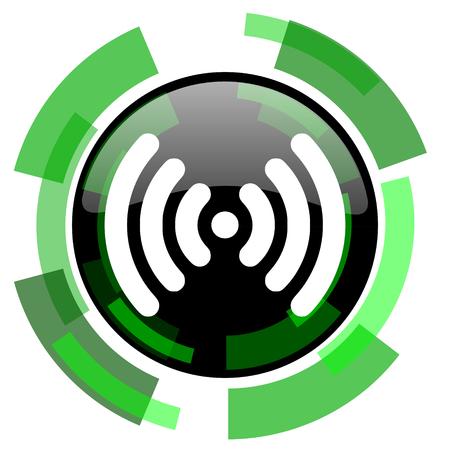 wifi icon: wifi icon, green modern design glossy round button, web and mobile app design illustration