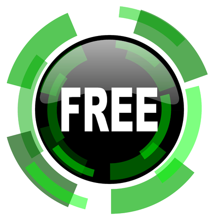 free icon: free icon, green modern design glossy round button, web and mobile app design illustration