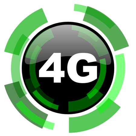 4g: 4g icon, green modern design glossy round button, web and mobile app design illustration Stock Photo