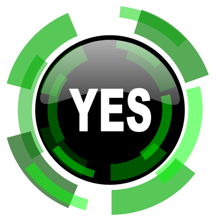 yes icon: yes icon, green modern design glossy round button, web and mobile app design illustration Stock Photo