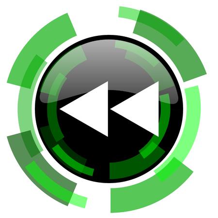 rewind icon: rewind icon, green modern design glossy round button, web and mobile app design illustration