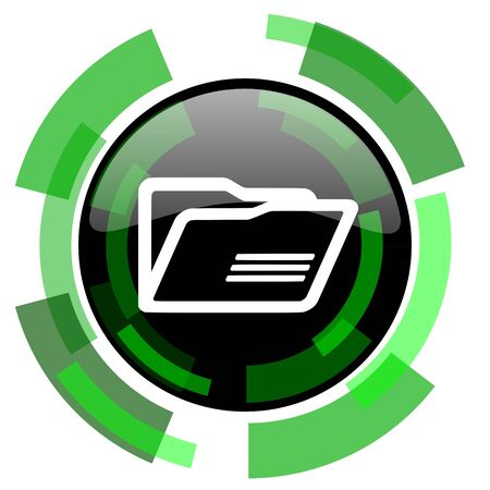 folder icon: folder icon, green modern design glossy round button, web and mobile app design illustration