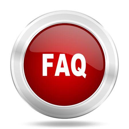 faq icon: faq icon, red round metallic glossy button, web and mobile app design illustration