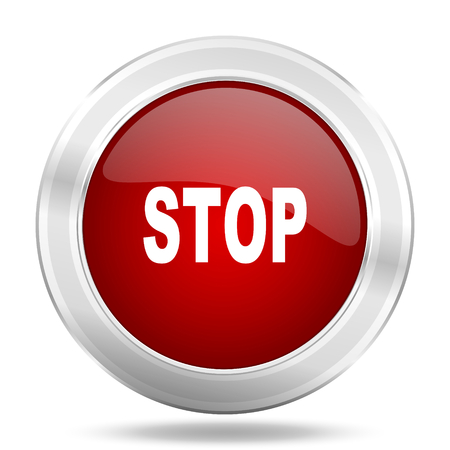 proscribed: stop icon, red round metallic glossy button, web and mobile app design illustration