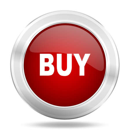 buy icon: buy icon, red round metallic glossy button, web and mobile app design illustration