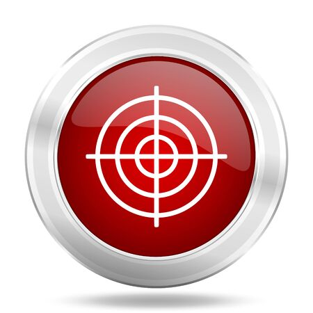 target icon: target icon, red round metallic glossy button, web and mobile app design illustration