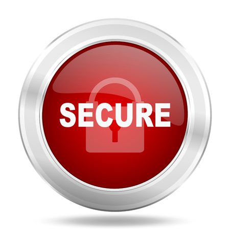 secure icon: secure icon, red round metallic glossy button, web and mobile app design illustration