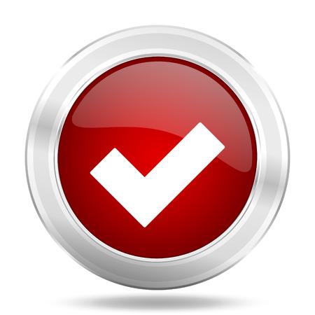 accept icon: accept icon, red round metallic glossy button, web and mobile app design illustration Stock Photo