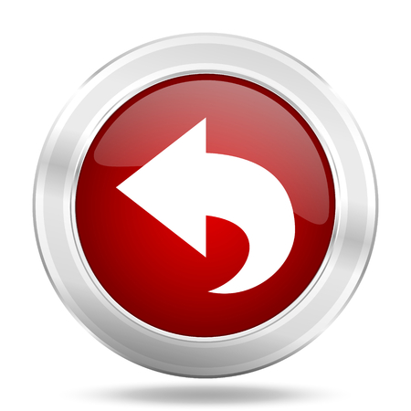 back icon: back icon, red round metallic glossy button, web and mobile app design illustration
