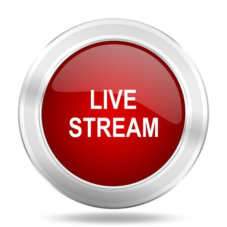 live stream: live stream icon, red round metallic glossy button, web and mobile app design illustration Stock Photo