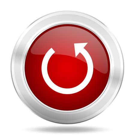rotate icon: rotate icon, red round metallic glossy button, web and mobile app design illustration