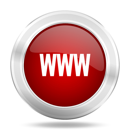 www icon: www icon, red round metallic glossy button, web and mobile app design illustration