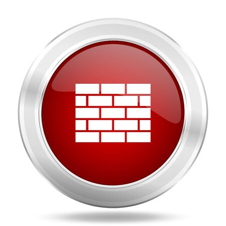firewall icon: firewall icon, red round metallic glossy button, web and mobile app design illustration Stock Photo