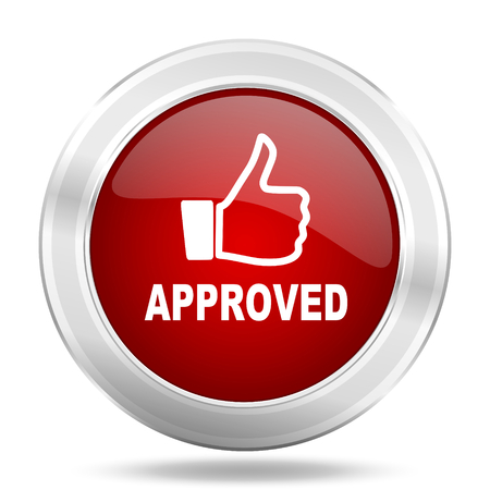 approved icon: approved icon, red round metallic glossy button, web and mobile app design illustration Stock Photo