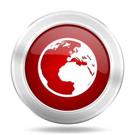 parallels: earth icon, red round metallic glossy button, web and mobile app design illustration