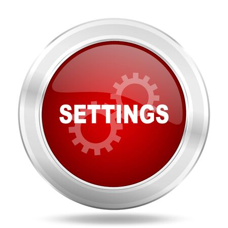 settings icon: settings icon, red round metallic glossy button, web and mobile app design illustration Stock Photo