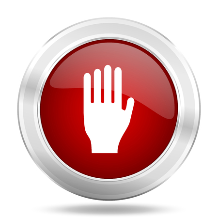coachman: stop icon, red round metallic glossy button, web and mobile app design illustration