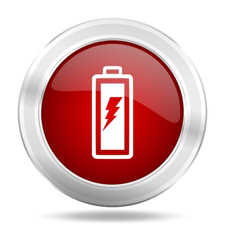 accuse: battery icon, red round metallic glossy button, web and mobile app design illustration Stock Photo