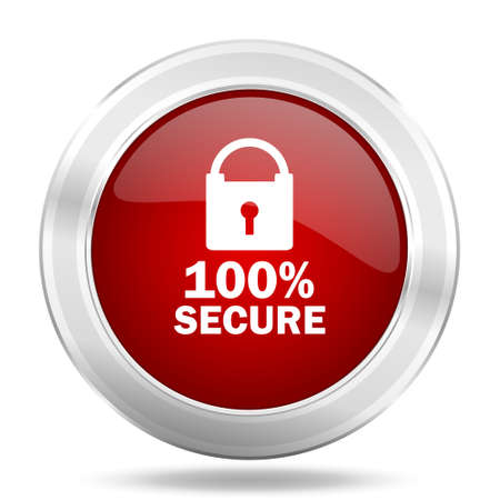 secure icon: 100% secure icon, red round metallic glossy button, web and mobile app design illustration