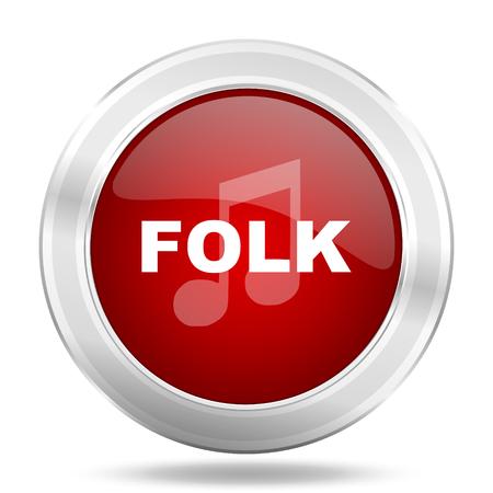 listen live stream: folk music icon, red round metallic glossy button, web and mobile app design illustration