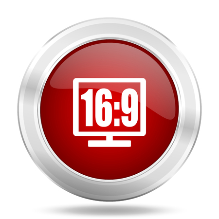 programm: 16:9 display icon, red round metallic glossy button, web and mobile app design illustration