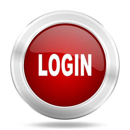 login icon: login icon, red round metallic glossy button, web and mobile app design illustration
