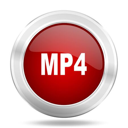 mp4: mp4 icon, red round metallic glossy button, web and mobile app design illustration