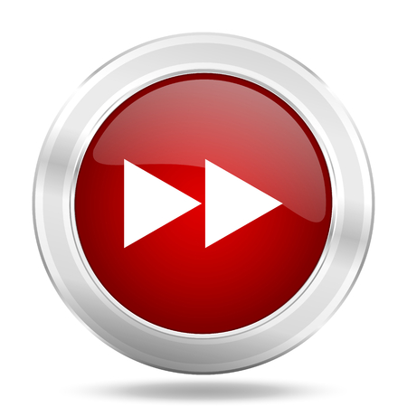 rewind icon: rewind icon, red round metallic glossy button, web and mobile app design illustration