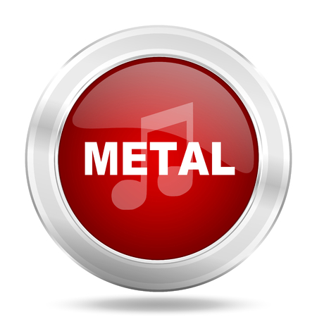 metal music: metal music icon, red round metallic glossy button, web and mobile app design illustration Stock Photo