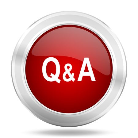 question and answer: question answer icon, red round metallic glossy button, web and mobile app design illustration