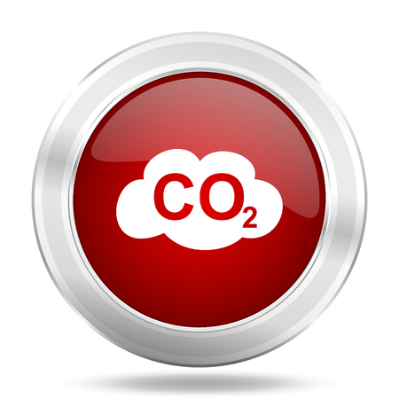 regenerative: carbon dioxide icon, red round metallic glossy button, web and mobile app design illustration Stock Photo